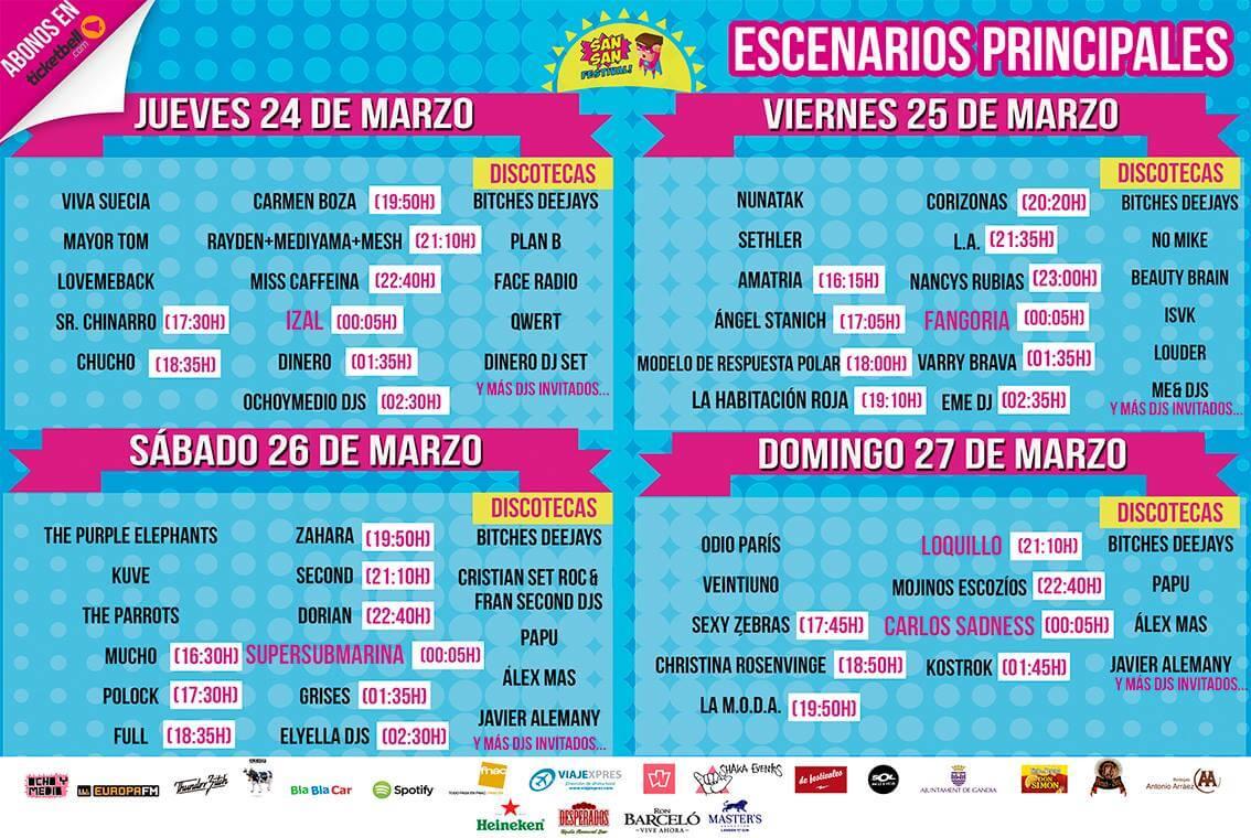 Horarios SanSan Festival 2016