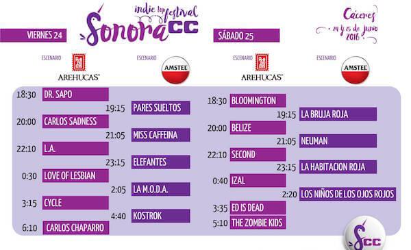 Horarios Festival Sonora CC 2016