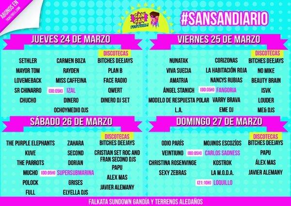 SanSan Festival 2016 - Cartel por días