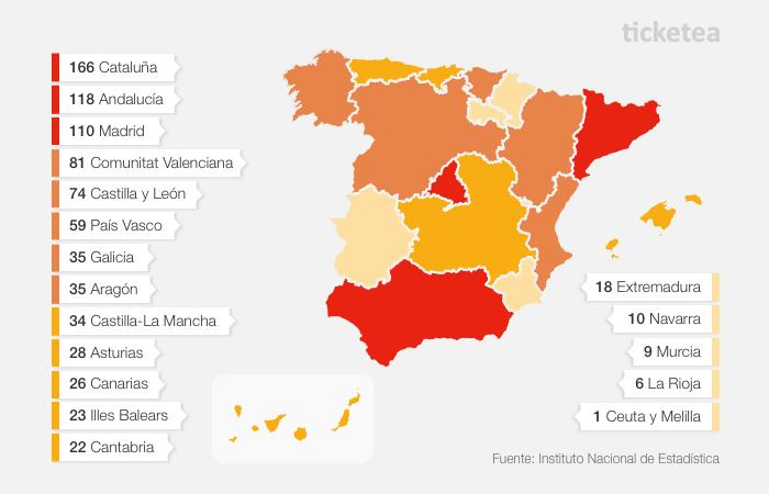 Mapa de Festivales en España