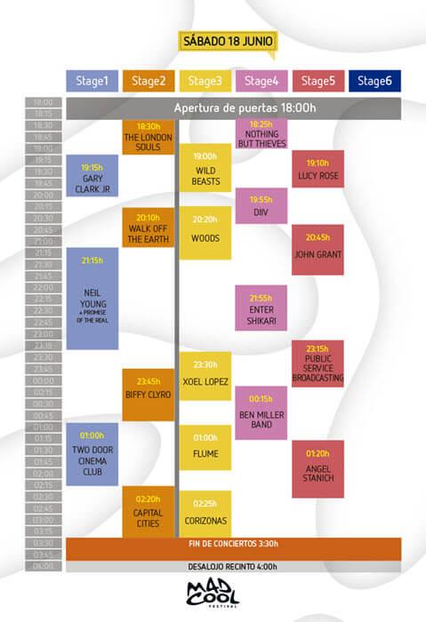 Horarios Mad Cool Festival - Sábado