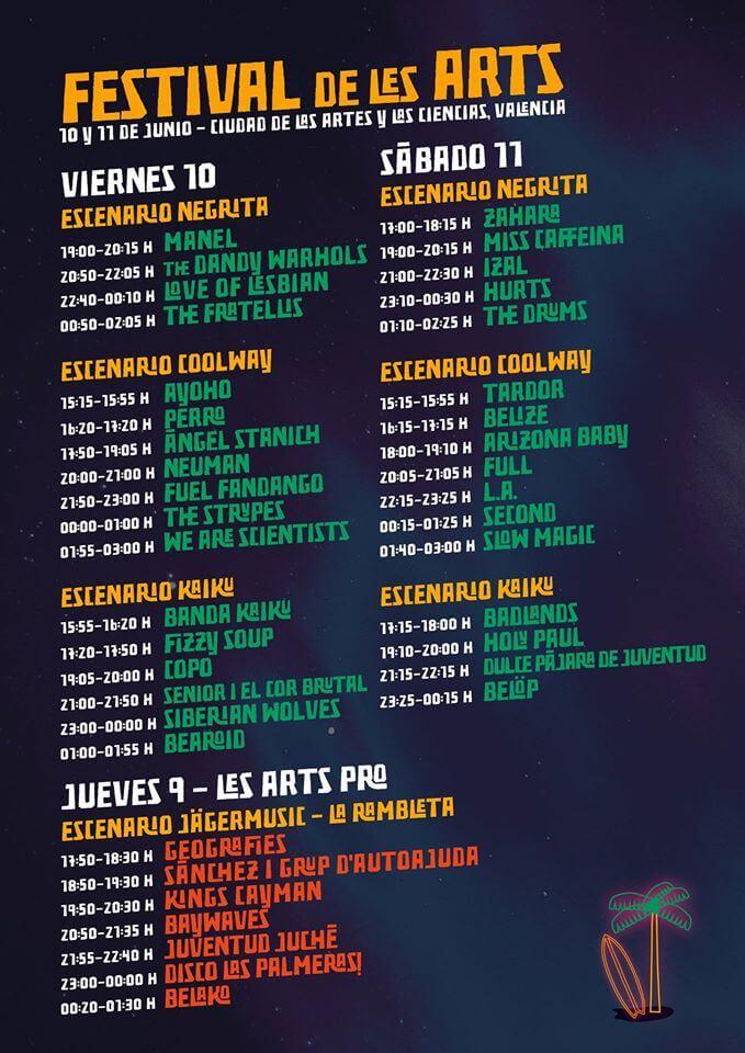 Horarios Festival de les Arts 2016