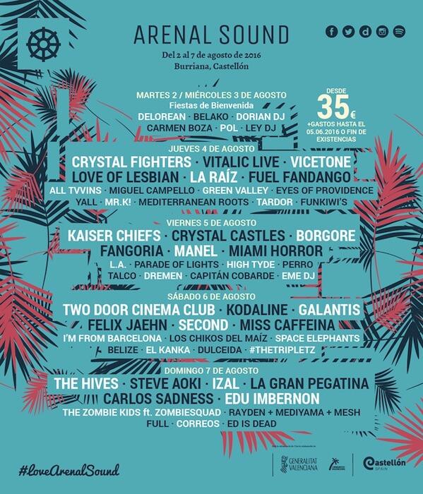 Arenal Sound 2016 - Cartel por días