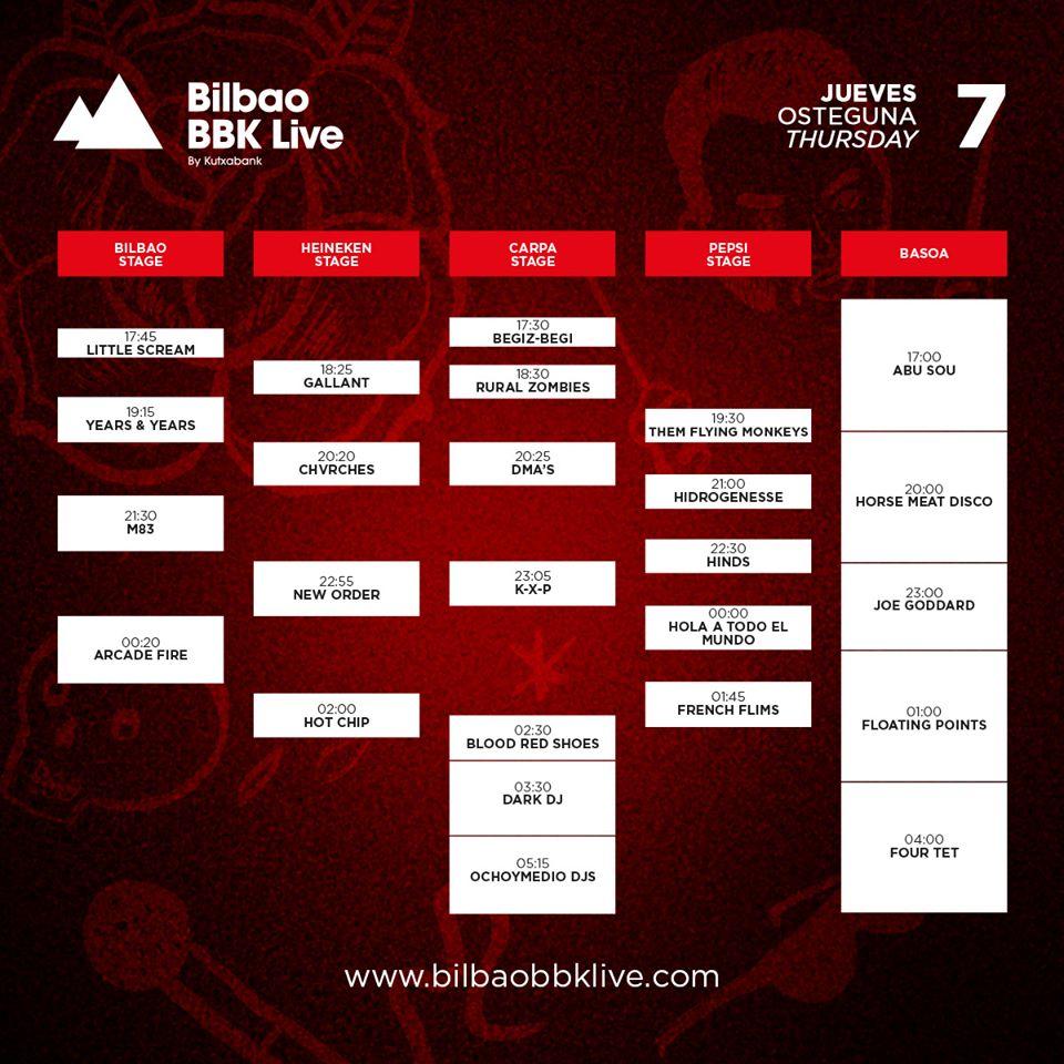 Horarios Bilbao BBK Live Jueves