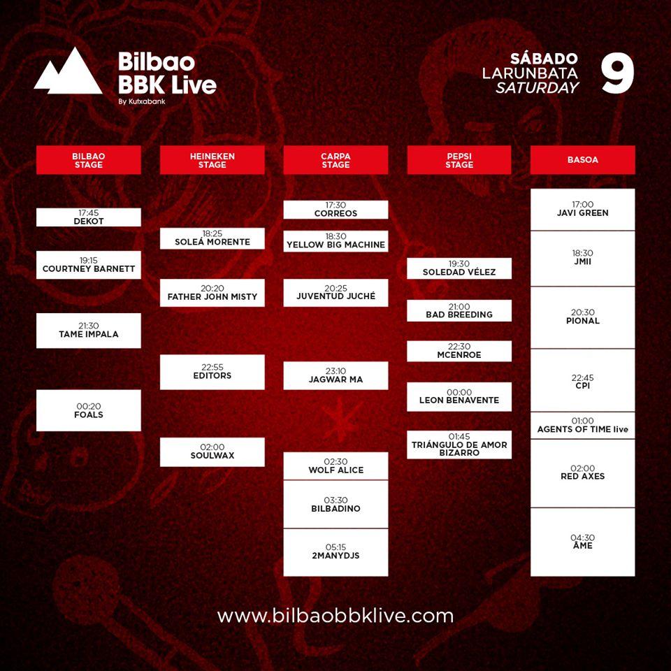 Horarios Bilbao BBK Live - Sábado