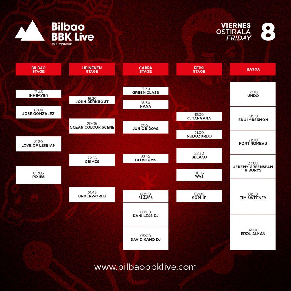Horarios Bilbao BBK Live - Viernes
