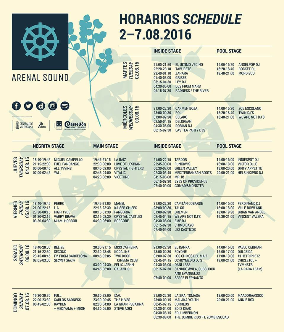 Horarios Arenal Sound 2016 Festival