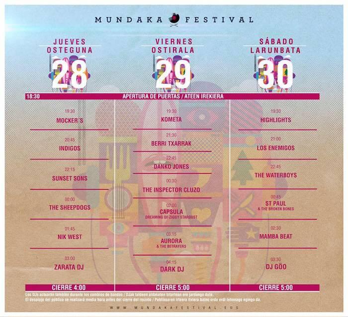 Horarios del Mundaka Festival 2016