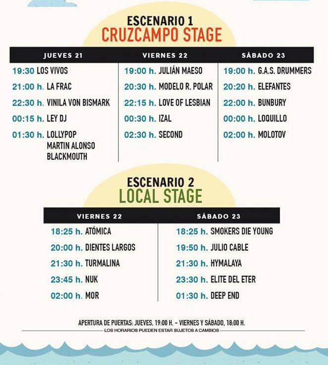 Horarios No Sin Música Festival 2016