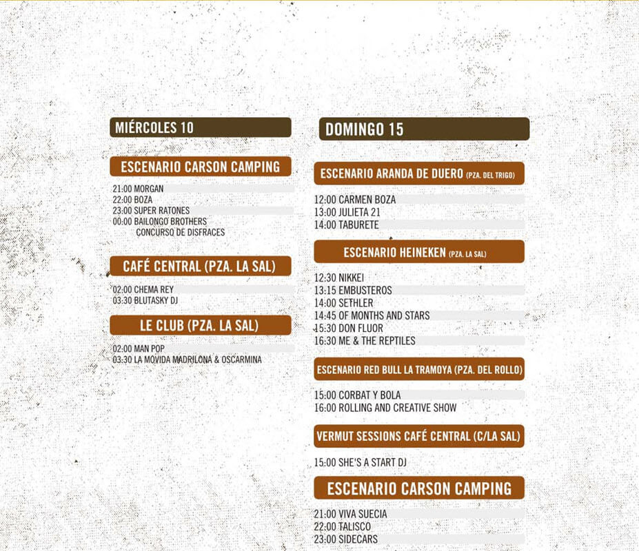 Horarios Sonorama 2016 - Miércoles