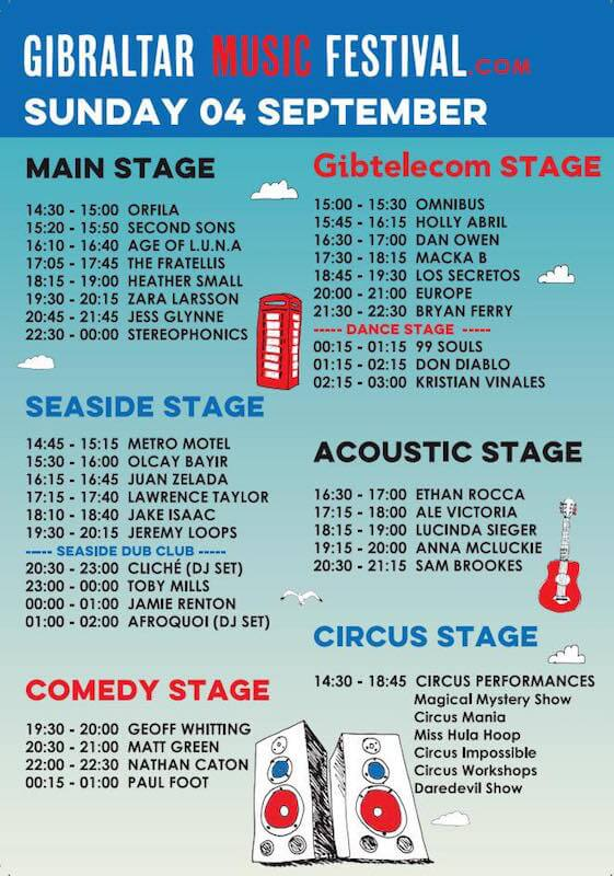 Horarios Gibraltar Music Festival - Domingo