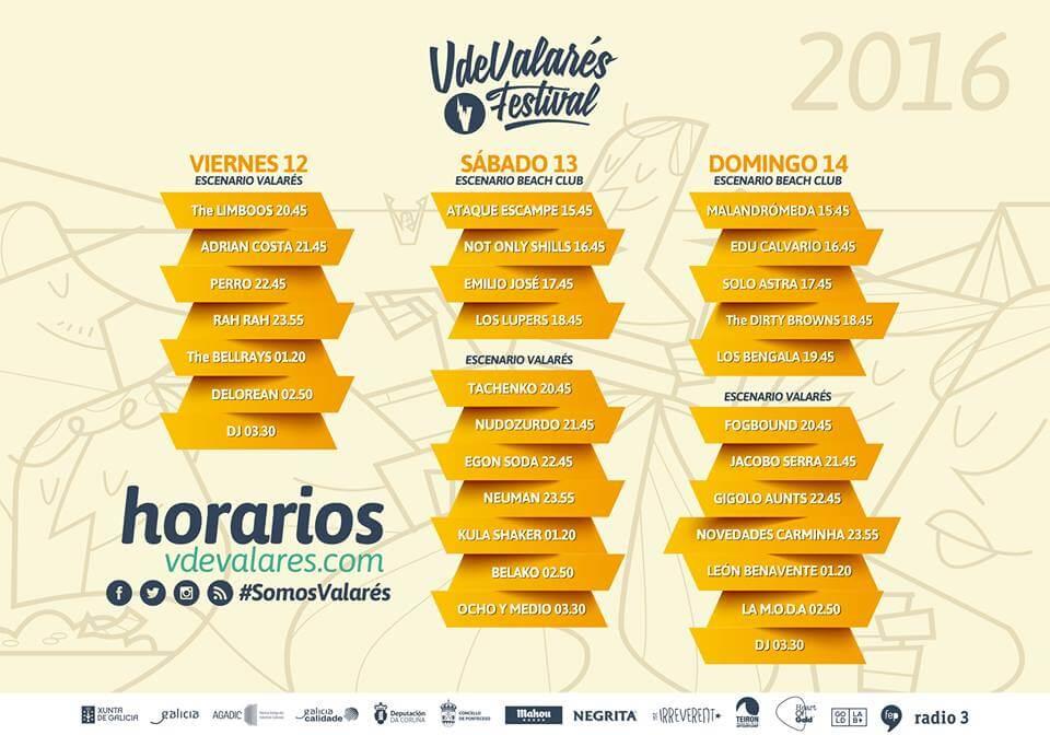 Horarios Festival V de Valarés 2016
