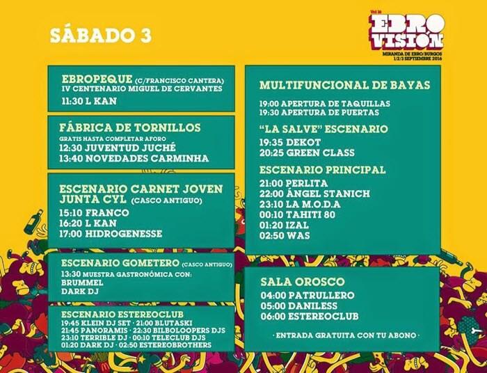 Horarios Ebrovisión 2016 Sábado