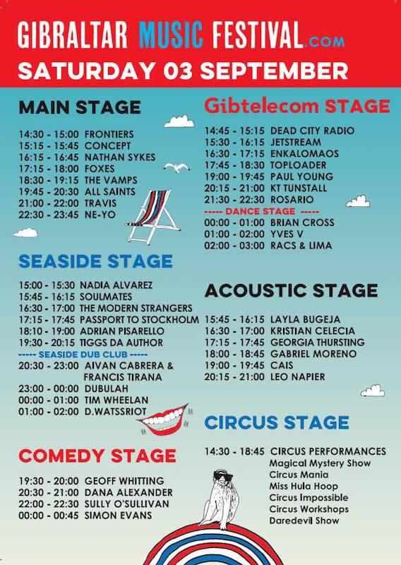 Horarios Gibraltar Music Festival - Sábado