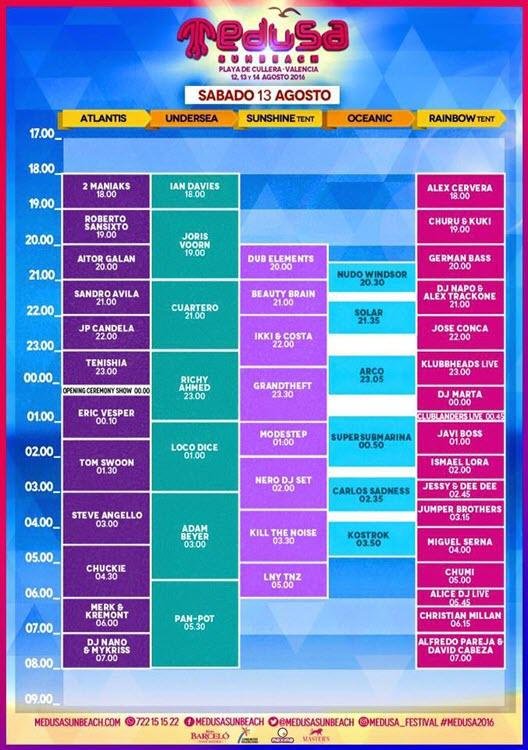 Horarios Medusa Sunbeach Festival 2016 - Sábado