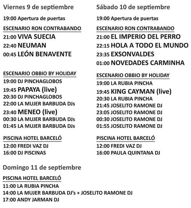 Horarios South Pop Isla Cristina 2016