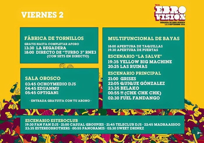 Horarios Ebrovisión 2016 Viernes