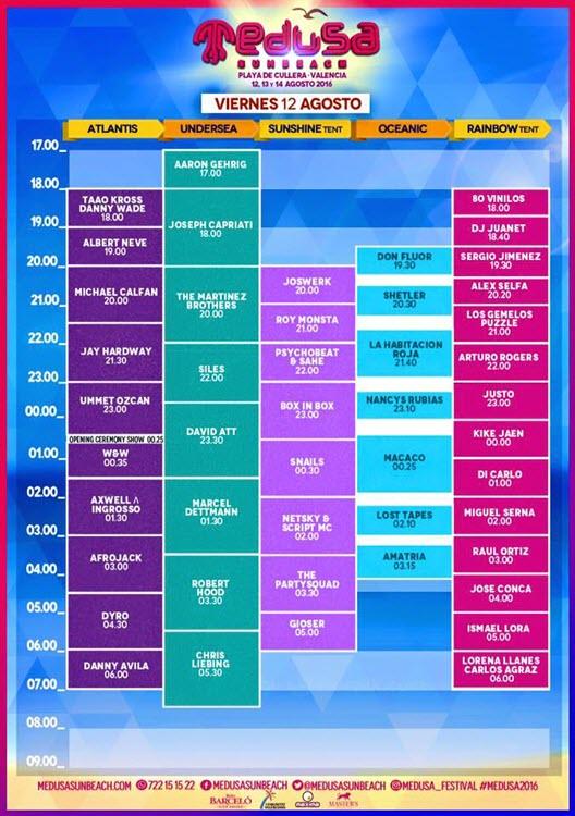 Horarios Medusa Sunbeach Festival 2016 - Viernes