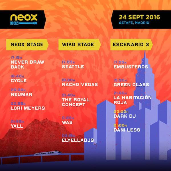 Horarios Neox Rocks Festival 2016 - Sábado