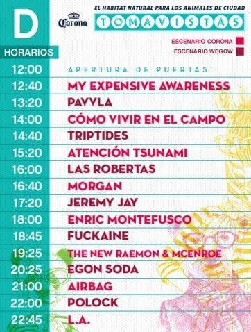 Horarios Tomavistas 2017 - Jueves