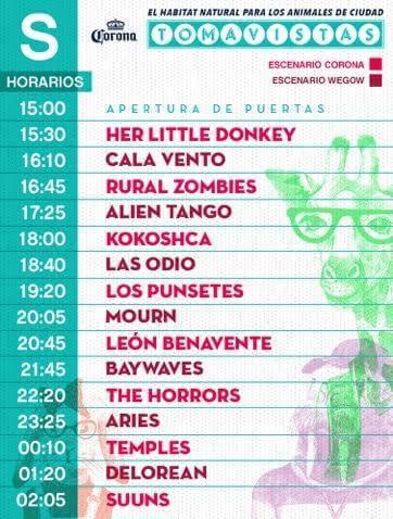 Horarios Tomavistas 2017 - Sábado