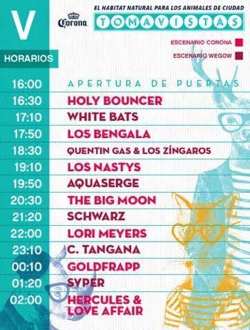 Horarios Tomavistas 2017 - Viernes