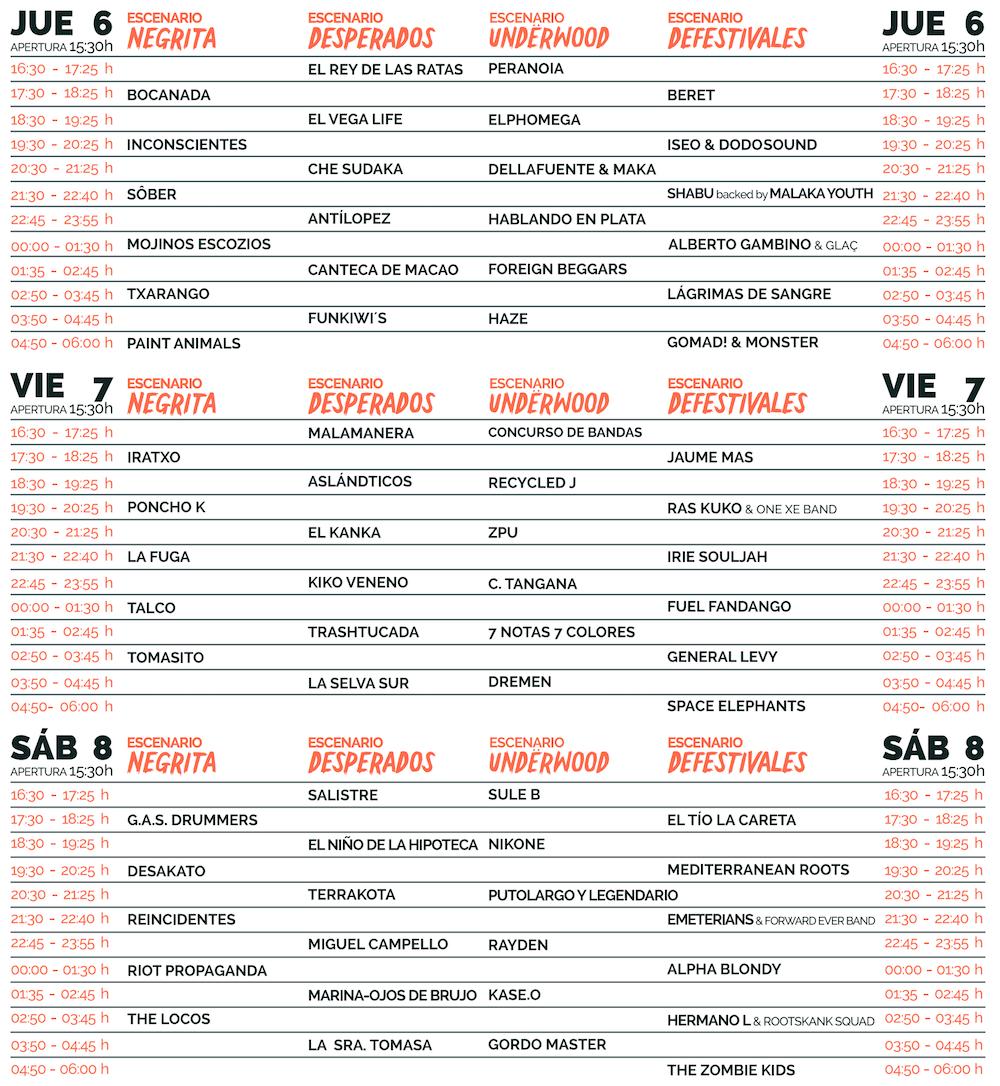 Horarios Cabo de Plata 2017