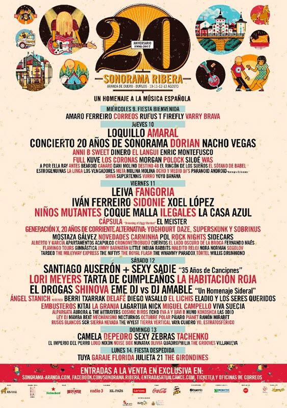 Sonorama 2017 - Cartel por días
