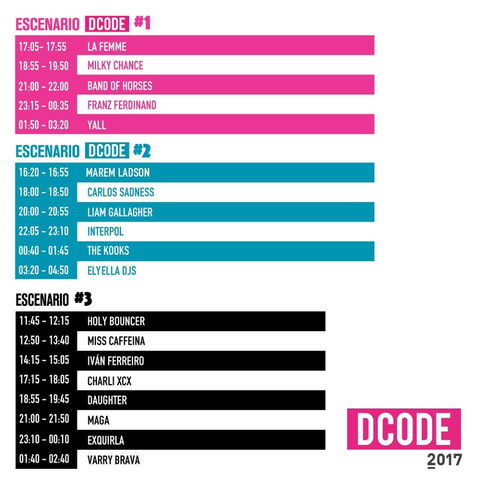 Horarios DCODE 2017