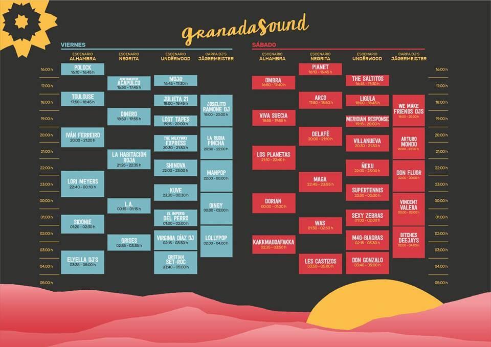Horarios Granada Sound 2017