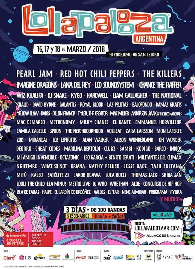 Lollapalooza Argentina 2018 - Cartel