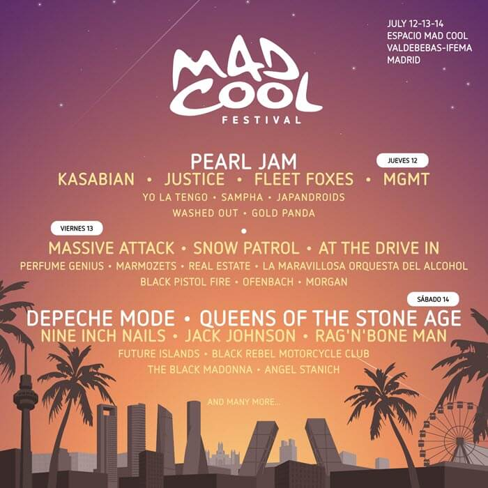Mad Cool 2018 - Cartel por días