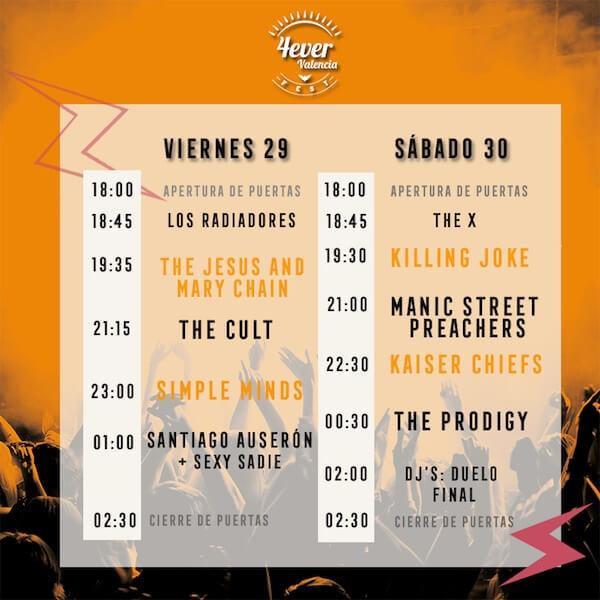 Horarios 4ever Valencia Fest 2018