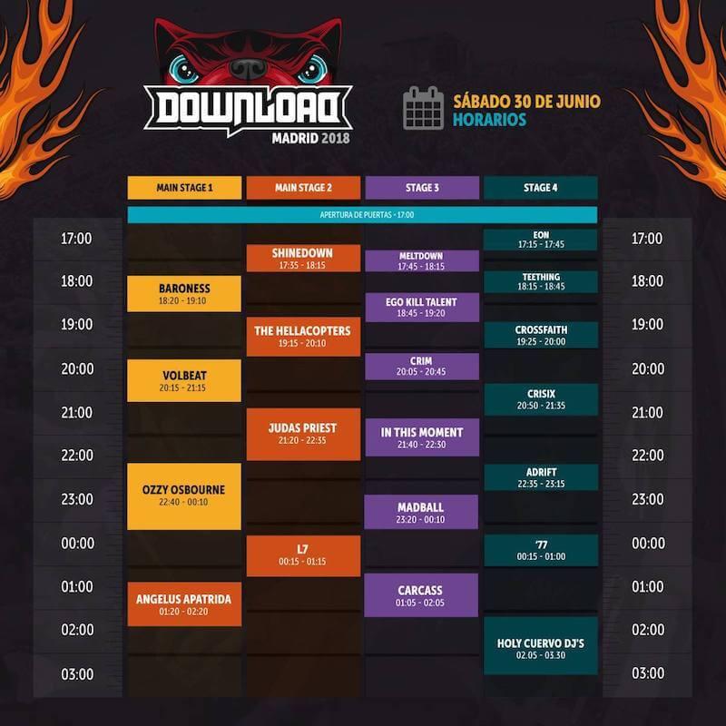 Horarios Download Festival Madrid 2018 - Sábado