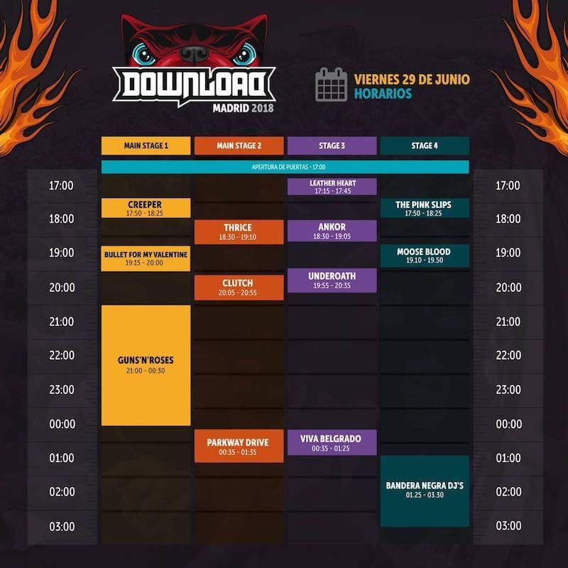 Horarios Download Festival Madrid 2018 - Viernes