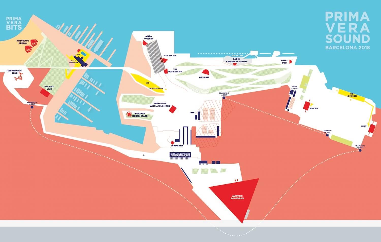 Mapa Primavera Sound 2018 - Parc del Forum