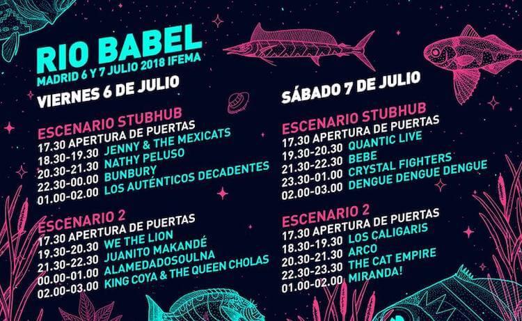 Horarios delRío Babel 2018