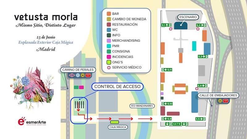Mapa de Acceso al concierto de Vetusta Morla