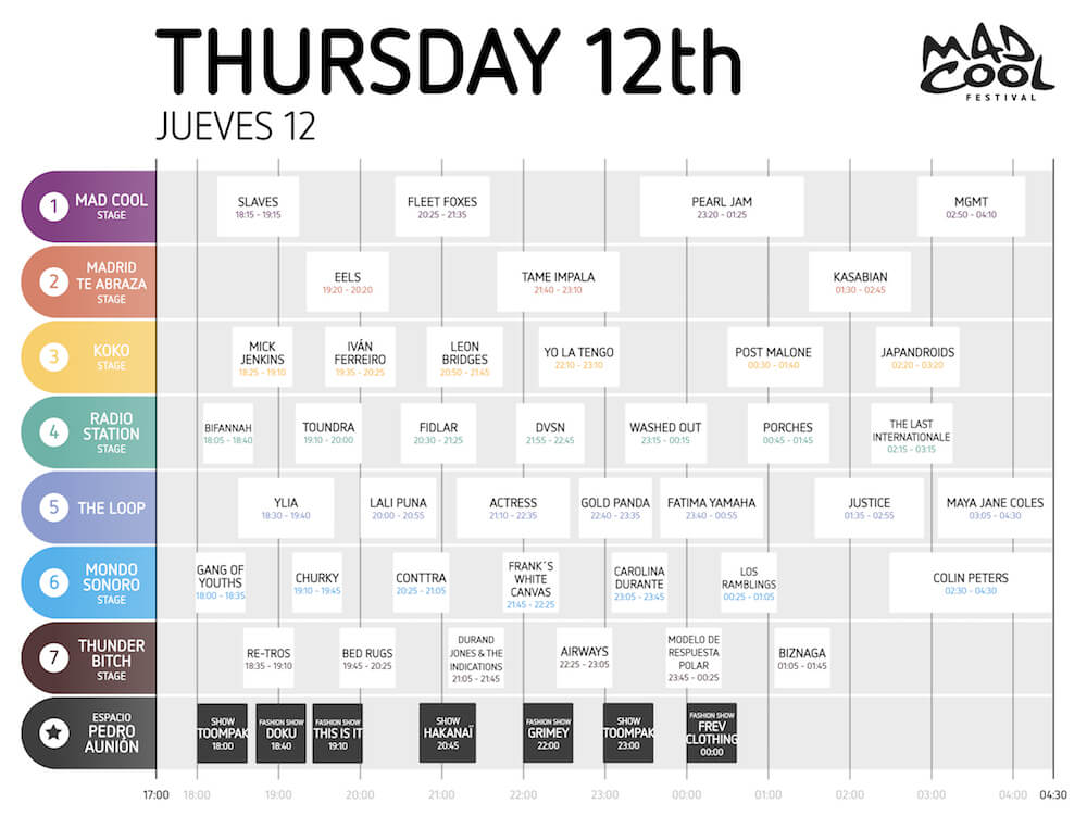 Horarios Jueves - Mad Cool Festival 2018