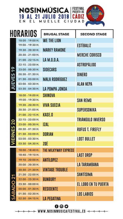 Horarios No Sin Música Festival 2018