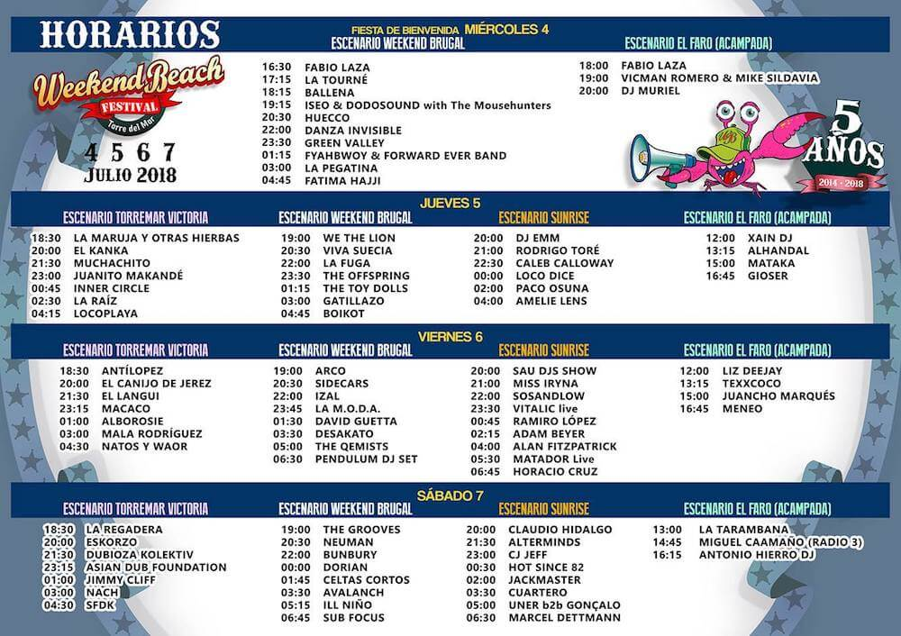 Horarios Weekend Beach 2018