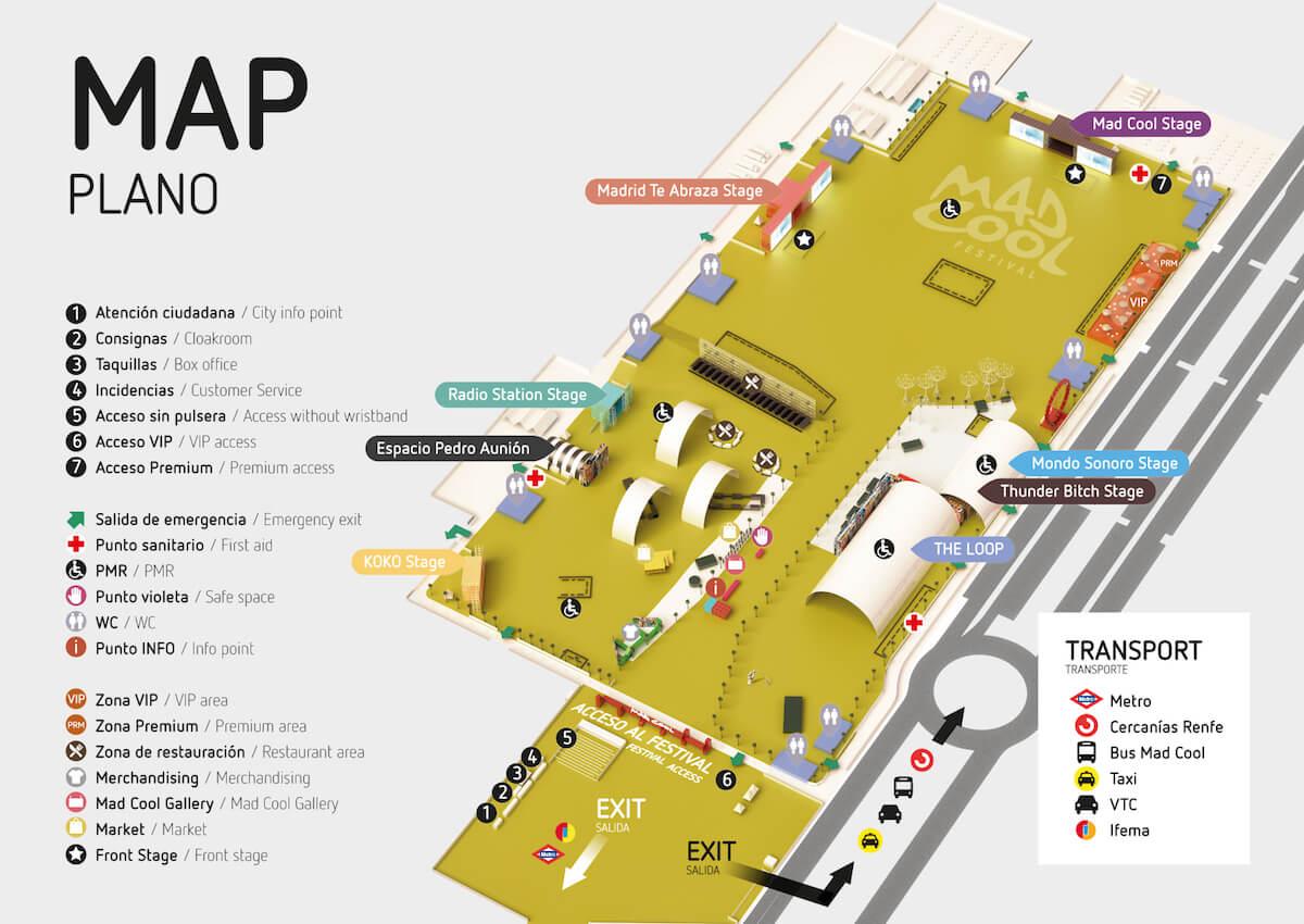 Mapa Mad Cool Festival 2018