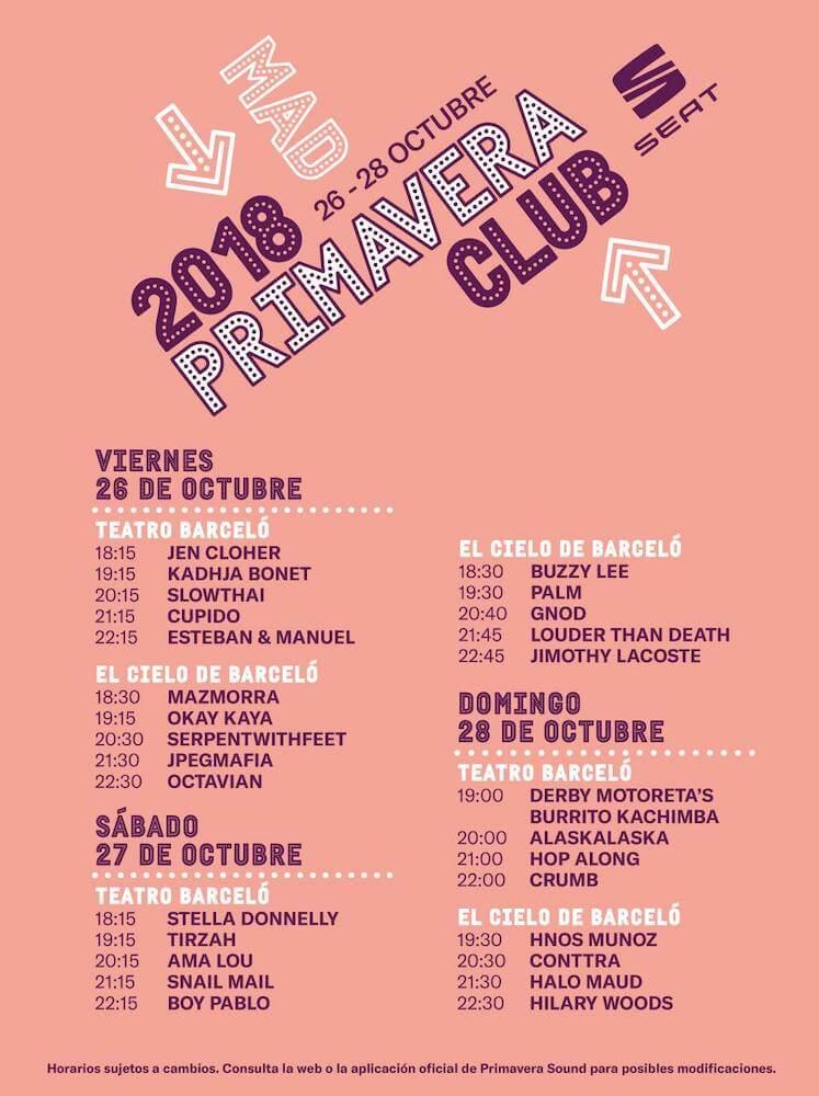 Horarios Primavera Club Madrid 2018