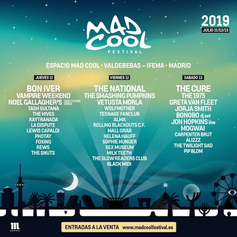 Cartel Mad Cool 2019 por dias