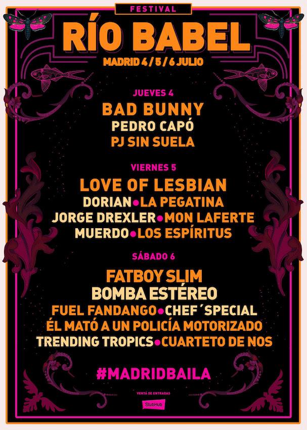 Festival Río Babel 2019 - Cartel por días