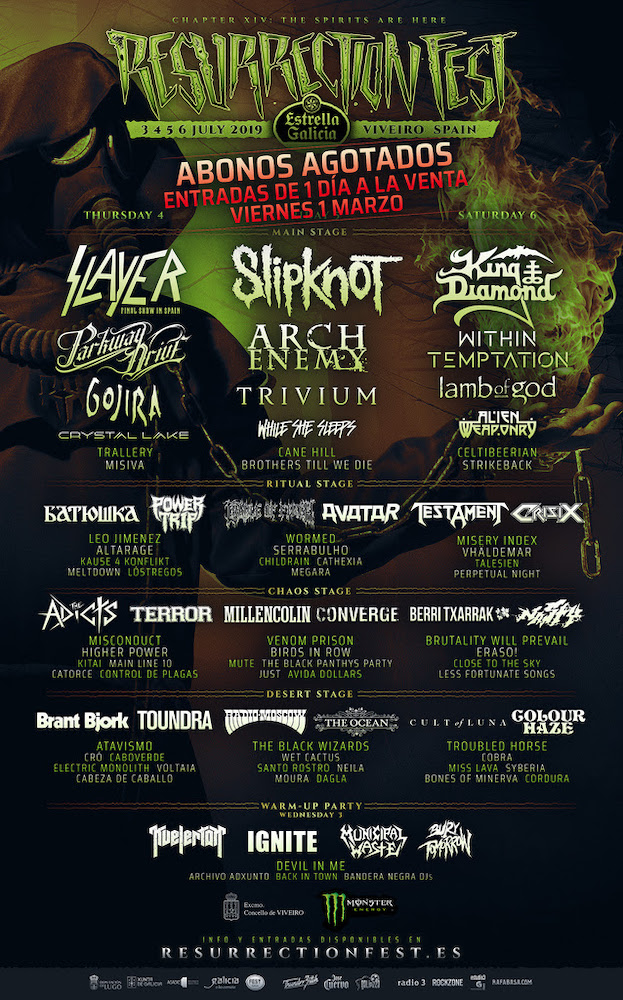 Resurrection Fest 2019 - Cartel por días