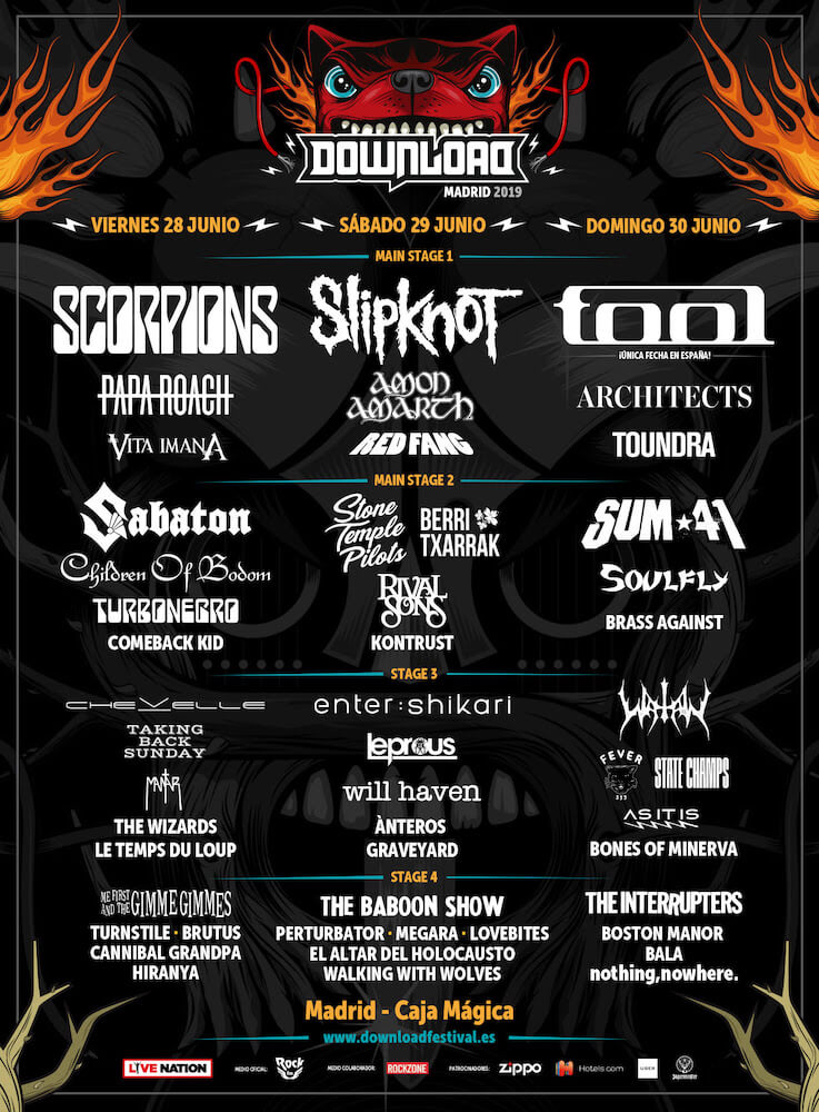 Cartel Download Madrid 2019 por días