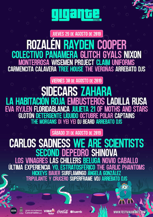 Festival Gigante 2019 - Cartel por días