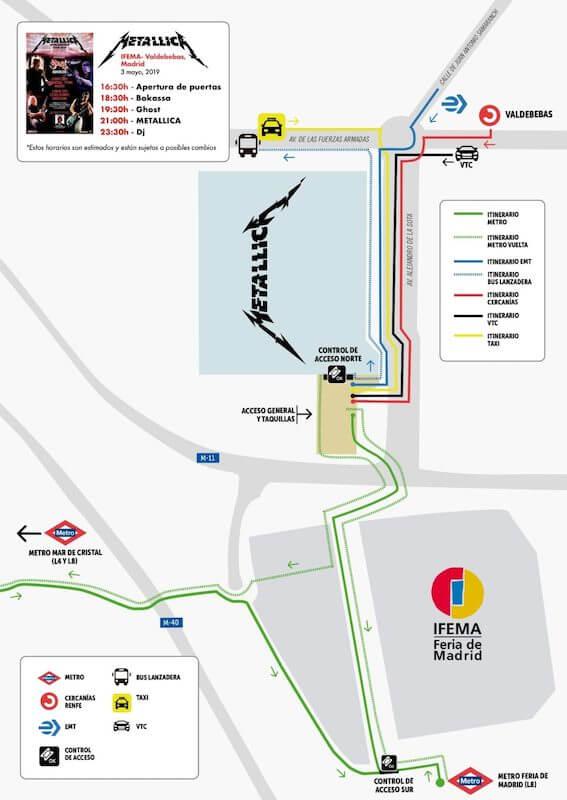 Mapa - Cómo llegar al concierto de Metallica en Madrid