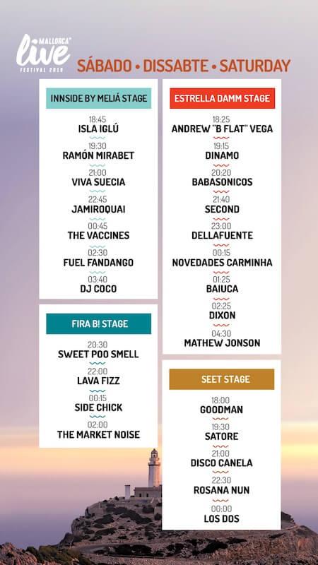 Horarios Mallorca Live Festival 2019 - Sábado